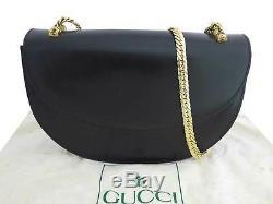 Auth Gucci Vintage Old Gucci Chaîne Sac À Bandoulière En Cuir Noir / Goldtone E40394