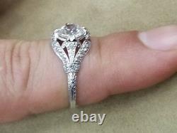 Bague Antique Platinum Vintage Old Mine Cut Diamond 1.36ct Vs1-h