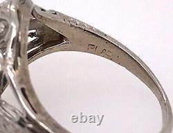 Bague De Fiançailles Vintage Diamond. 28ct Old Euro Antique Platinum Art Déco