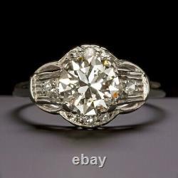 Bague De Fiançailles Vintage Diamond Platinum Old European Cut Antique Art Déco