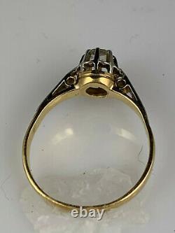 Bague Victorienne En Or Antique 18k Avec Diamant Taille Rose, Très Vieille Taille De Diamant