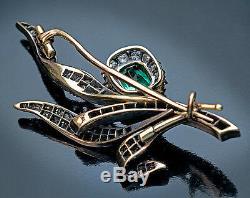 Belle Epoque Antique Russe Emeraude Old Cut Diamant Fleur D'or Broche