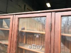 Boîtier À Montage Mural Vintage 4 Vieux Portes En Verre Ondulé Bord De Billes De Pin 94 X 67 X 13