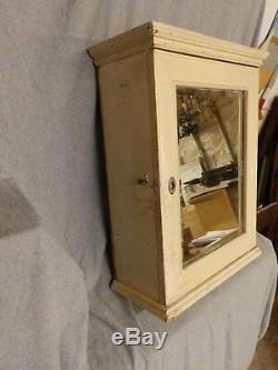 Cabinet Antique Médecine Victorienne Armoire Old Vintage Miroir Biseauté 5280-15