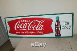 Coca Cola Fishtail Signes Style Vintage Gaufrée Grand 54 X 18 Country Store