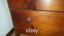 Coffre Antique De Couverture Tronc Américain De Pin Primitif Très Vieux Rare