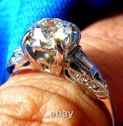 Deco Old European Cut Diamond Platinum Bague De Fiançailles Antique Vintage Solitaire