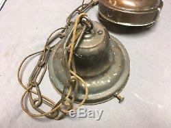 École Plafond Suspendu Antique Light House Bank Milk Glass Globe Old Vtg 572-18e