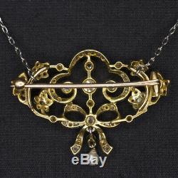 Edwardian Antique Diamond Pendentif Vieux Rose Cut Art Nouveau Vintage Necklace