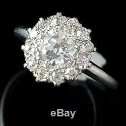 Engagement Antique Bague 1.05ct Old Diamonds Cut Européenne 18 Et 14k Halo Domaine