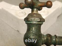 Faucet D'évier Chaud Ou Froid En Laiton Nickel Antique Ancien Peck Bros Plomberie 35-18j