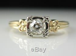Fiançailles Vintage Bague En Diamant Old Cut Européenne 14k Deux Tons Antique Domaine