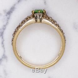 Français 1900 Antiquités Russe Demantoid Grenat Bague En Diamant Ancienne Mine Vintage Cut