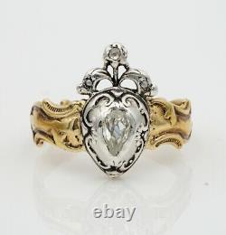 Georgian Old Mine Diamond Heart 18 Kt Ring