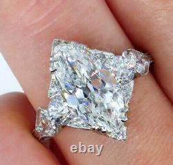 Gia 3.78ct Antique Art Déco Old Marquise Diamond Engagement Wedding Ring Plat