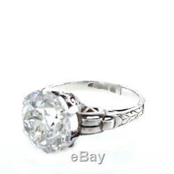 Gia 4.57ct Antique Art Nouveau Vieux Mine De Diamants Solitair Bague De Fiançailles De Mariage