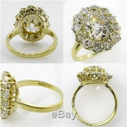 Gia 4.70ct Antique Vintage Vieux Coussin De Fiançailles De Diamant De Mariage Bague Cluster
