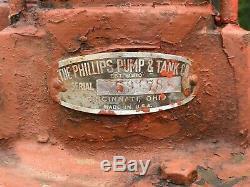 Grande Pompe À Huile Antique Le Phillips & Co. Réservoir Lubester Distributeur Vintage Old