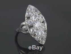 Immobilier Antique Vintage Platinum Old Diamond Cut Miner Art Déco Bague Sz 3.25