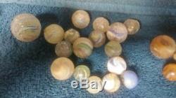 Lot De Vintage Marbles, L'argile Et Le Verre, Antique, Vieux