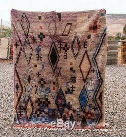 Marocaine Boujad Laine Vintage Fait Main Vieux Tapis Tapis Berbère (5 Pi X 7 Ft)