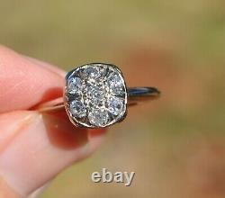 Old Antique Art Nouveau Déco 14k Solid Gold European Cut Natural Diamond Ring