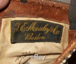 Old Antique Vtg 1900 Mens Victorienne / Édouardienne Chaussures En Cuir Bottes Taille 8 De Nice