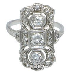 Old Diamonds Cut Européen Des Années 1920 Platinum Antique Art Déco Bague Cocktail 0.75ctw