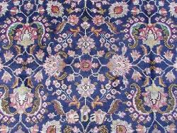 Old Hand Made Traditionnel Vintage Oriental Bleu Marine Laine Grande 389x291cm Tapis