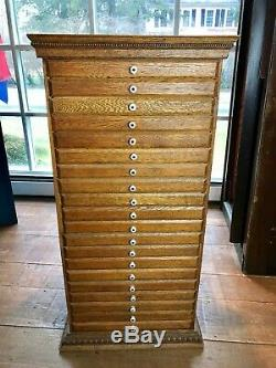 Old Vintage Oak Flat Fichier Typo Bijoux Organisateur Apothicaire Cabinet