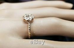 Or Jaune 18 Carats Bague Vintage Diamant Mine Cut 0.76ct Ancien Circ 1930 Si2