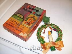 Original Années 1950 Vintage Nos Auto Window Blinking Light Christmas Wreath Hot Rod