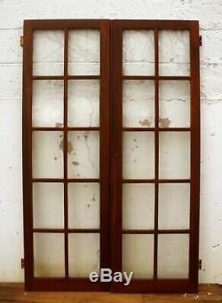 Paire 40x63 Antique Vintage Vieux Bois Garde-manger Cabinet En Bois Fenêtre Porte En Verre 30
