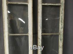 Paire Antique 4 Lite Porte D'entrée Sidelights 84x14 Fenêtre À Guillotine Vieux Vtg 279-19e