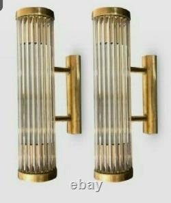 Paire Antique Old Vintage Art Déco Brass & Glass Rod Ship Light Wall Sconces Lamp