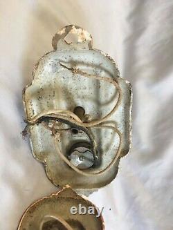 Paire D'anciennes Sconce Cast Iron Mural Luminaires Vieux Vtg Art Nouveau 312-20e