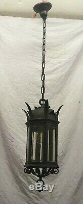 Pendentif Plafond Antique Gothique Porche Luminaire Vieux Vtg Biseautés Verre 395-19e