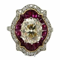 Platinum Ancienne Mine Coussin Cut Et Ruby Antique Style Art Déco Bague De Fiançailles