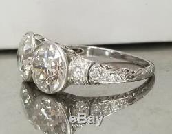Platinum Anneau Anciennes Art Déco Rond Ancienne Mine De Diamants 5.12ct Coupe