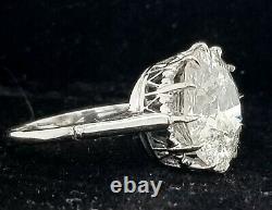 Platinum Vintage Bague De Fiançailles Coupe Ancienne Euro Ronde Naturelle 5.72ct Diamant. I1-h