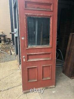 Porte D'entrée En Verre Vintage C1890 Maison De Ferme 80/32.25/1.75 Vieux Verre 24/20