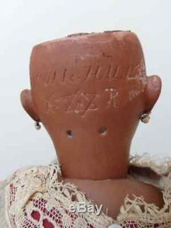 Poupée Belle Mulâtre Antique Poupée Noire Brun Boucles D'oreilles Vieux Biscuit Robe Originale