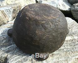 Rare Antique Natif Colonial Burl Bowl En Bois 4 American Handled Old Réparation Vtg