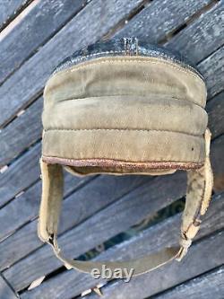 Rare Antique Old 1900s Draper Maynard Vintage Flat Top Canvas Football Helmet