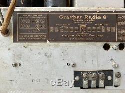 Rare Antique Tombstone Graybar Radio 8 Superhétérodyne Rca Victor Vintage Vieux