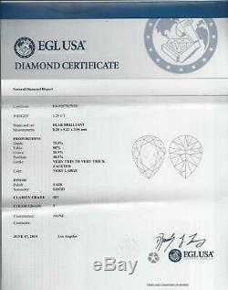 Rare Vieux Mine Coupe Pear Forme 1.25ct Certified F Si1 Diamond Cut Antique Vintage