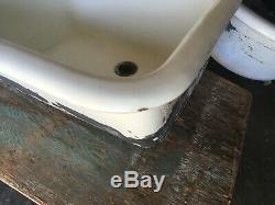 Sink Ferme Antique Double Bassin 46 Fonte Blanc Porcelaine Vieux Vtg 2247-13