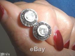 Superbe Clean Diamant Antique 1 Ct Ancienne Mine Cut Rose Stud 14k Boucles D'oreilles