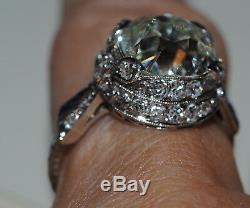 Vente Antique 4.97ct Gia I Si1 Old Diamond Cut Platinum Sapphire Diamond Ring