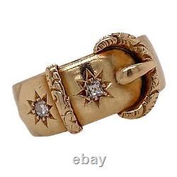 Vieille Mine Victorienne Coupée Diamant 18 Karat Or Jaune Boucle Bague Vintage Antique
